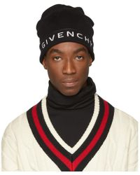 Givenchy - Black And White Logo Beanie - Lyst