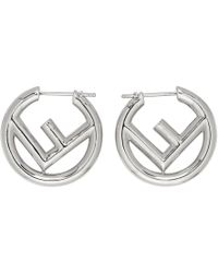 Fendi - Silver Small F Is Hoop Earrings - Lyst