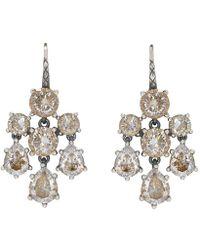 Bottega Veneta - Silver Chandelier Zircon Earrings - Lyst
