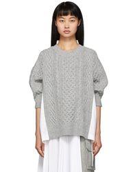 Sacai - Pull en maille de laine gris et blanc - Lyst