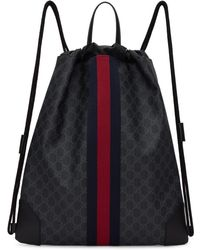 Gucci - Black Gg Supreme Drawstring Backpack - Lyst