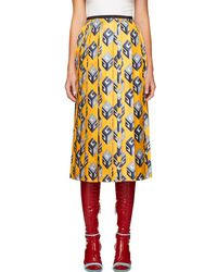 Gucci - Yellow Gg Wallpaper Skirt - Lyst