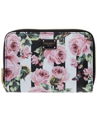 Dolce & Gabbana - Black Stripes And Flowers Compact Wallet - Lyst