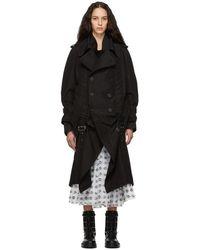 Noir Kei Ninomiya - Trench en soie et coton a ceinture noir - Lyst