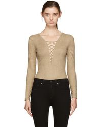 T By Alexander Wang - Tan Faux-suede Lace-up Bodysuit - Lyst