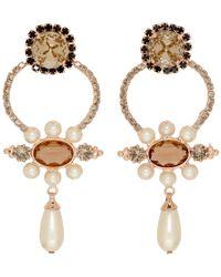 Erdem - Orange Floral Hoop Drop Earrings - Lyst
