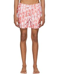 Onia - Orange And White Charles Swim Shorts - Lyst