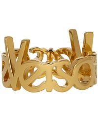 Versace - Gold Logo Ring - Lyst