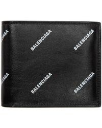 Balenciaga - Black All Over Logo Wallet - Lyst