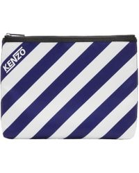 KENZO - Blue And White Striped A4 Logo Pouch - Lyst