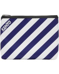 KENZO | Blue And White Striped A4 Logo Pouch | Lyst