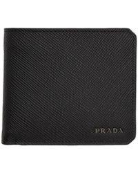Prada - Black Saffiano Corner Logo Wallet - Lyst
