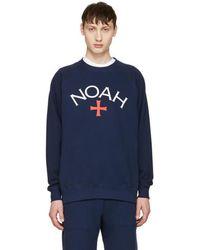 Noah - Navy Logo Pullover - Lyst