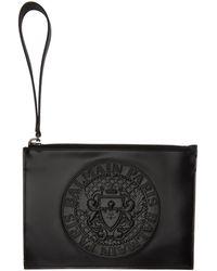 Balmain - Black Mini Coin Logo Pouch - Lyst