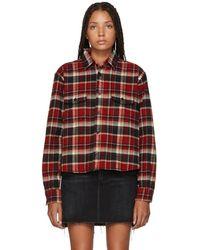Saint Laurent - Multicolor Oversized Cropped Plaid Shirt - Lyst
