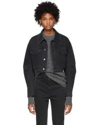 Tibi - Black Cropped Denim Jacket - Lyst