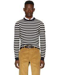 Prada - Navy & Off-white Striped Lambswool Sweater - Lyst