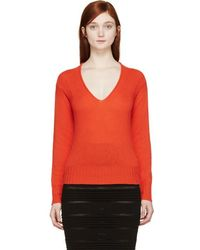 Burberry Prorsum - Orange Cashmere V-neck Jumper - Lyst