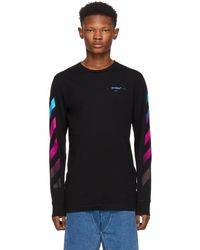 Off-White c/o Virgil Abloh - Black Diagonal Gradient Long Sleeve T-shirt - Lyst