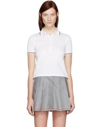 Thom Browne - White Short Sleeve Polo - Lyst