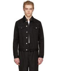Alexander McQueen - Black Leather Trim Denim Jacket - Lyst