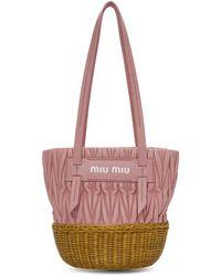 Miu Miu - Pink Matelasse Logo Tote - Lyst