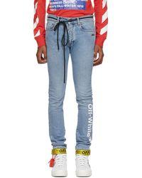 Off-White c/o Virgil Abloh - Blue Logo Skinny Jeans - Lyst