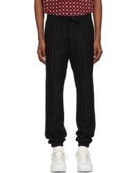Saint Laurent - Black Striped Wool Trousers - Lyst