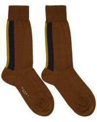 Marni - Brown Striped Socks - Lyst
