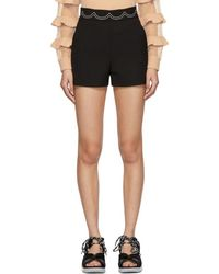 RED Valentino - Black Embroidered Scallop Shorts - Lyst