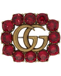 Gucci - Gold And Red Marmont Gem Brooch - Lyst
