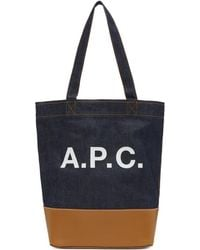 A.P.C. - Blue And Tan Axel Tote - Lyst