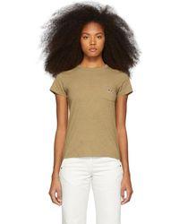 Maison Kitsuné - Beige Tricolor Fox Patch Pocket T-shirt - Lyst