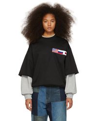 Gosha Rubchinskiy - Black And Grey Double Sleeve Flag Sweatshirt - Lyst