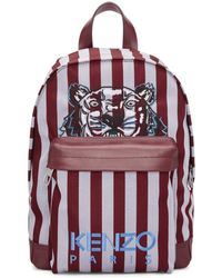 KENZO - Burgundy And Blue Small Striped Tiger Backpack - Lyst