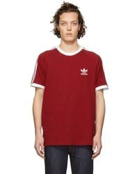 adidas Originals - Red 3-stripes T-shirt - Lyst