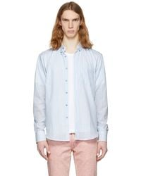 Naked & Famous | White And Blue Summertime Stripe Shirt | Lyst