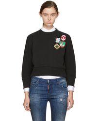 DSquared² - Black Cropped Patchwork Sweatshirt - Lyst