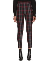 T By Alexander Wang - Grey And Red Plaid Fitted Zip Leggings - Lyst