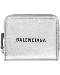 4cb4ac5dbb5 Balenciaga - Silver And Black Small Square Logo Wallet - Lyst