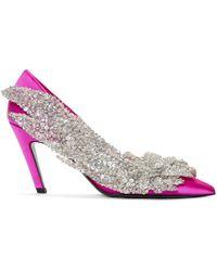 Balenciaga - Pink Satin Broderie Heels - Lyst
