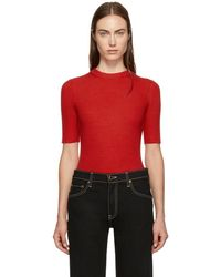 3.1 Phillip Lim - Red Ribbed Short Sleeve Sweater - Lyst