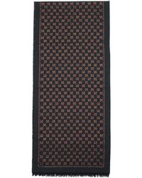 Gucci - Navy And Orange Wool Metallic GG Scarf - Lyst