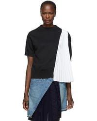 Sacai - Pull noir et blanc Knit Shirting - Lyst