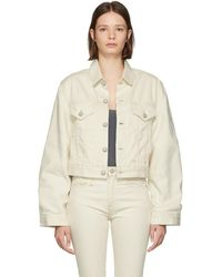 R13 - White Cropped Trucker Denim Jacket - Lyst