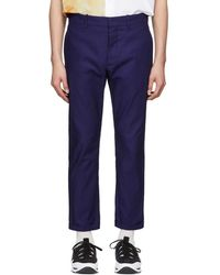 Marni - Blue Canvas Trousers - Lyst