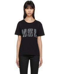 Saint Laurent - Black Ysl Logo T-shirt - Lyst