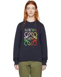 Loewe - Navy Anagram Sweatshirt - Lyst