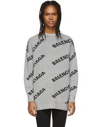 Balenciaga - Jacquard Logo Crewneck Sweater - Lyst