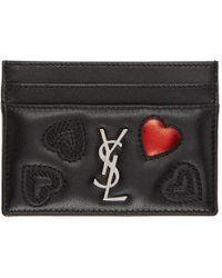 Saint Laurent - Black Quilted Monogram Card Holder - Lyst